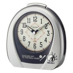 "Rhythm Clocks - 5"" Baseball Musical Alarm Clock Silver - At the top of each hour, the MAGIC Begins!"