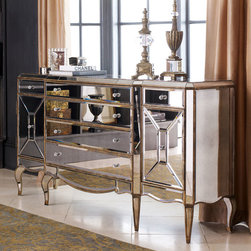 """Horchow - Jerilynn Mirrored Buffet - SILVER - Jerilynn Mirrored BuffetDetailsMade of select hardwood solids with mirrored veneers.Painted silver and gold finish. Six drawers and two doors that conceal two adjustable shelves. 72""""W x 19""""D x 39""""T. Imported. Boxed weight approximately 350 lbs. Please note that this item may require additional delivery and processing charges."""