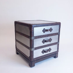 Silver Accent Trunk Side Table w/Leather Straps - Dimensions: W 22''  × H 24''  × D 22''