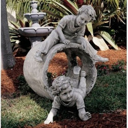 Design Toscano Hide and Seek Garden Sculpture - Enjoy one of childhood's pleasures with the Design Toscano Hide and Seek Garden Sculpture. Quality designer resin construction makes this piece a lasting addition to your home or garden. An elegant faux stone finish adds en elegant touch. It's the perfect centerpiece for a summer garden or indoor gallery.About Design ToscanoDesign Toscano is the country's premier source for statues and other historical and antique replicas, which are available through the company's catalog and website. Design Toscano's founders, Michael and Marilyn Stopka, created Design Toscano in 1990. While on a trip to Paris, the Stopkas first saw the marvelous carvings of gargoyles and water spouts at the Notre Dame Cathedral. Inspired by the beauty and mystery of these pieces, they decided to introduce the world of medieval gargoyles to America in 1993. On a later trip to Albi, France, the Stopkas had the pleasure of being exposed to the world of Jacquard tapestries that they added quickly to the growing catalog. Since then, the company's product line has grown to include Egyptian, Medieval and other period pieces that are now among the current favorites of Design Toscano customers, along with an extensive collection of garden fountains, statuary, authentic canvas replicas of oil painting masterpieces, and other antique art reproductions. At Design Toscano, attention to detail is important. Travel directly to the source for all historical replicas ensures brilliant design.