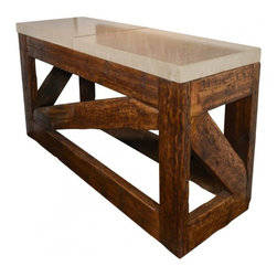 ecofirstart - Diagonal Motif Architectural Console - This striking console table is rustic and earthy, yet leans toward modern with its diagonal design. The base is crafted from reclaimed pine stained to show its age and patina. The top is two chunky slabs of thick natural limestone for heft and smooth style.