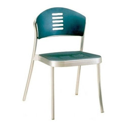 """Kartell - Mauna-Kea Chair - The polished, formal effect of the Mauna-Kea design and materials allow these products to assimilate beautifully into business settings as well as the home. The materials, including polished aluminum, batch-dyed polypropylene and zinc-coated screws, are both elegant in appearance and tough enough to withstand the outdoors. The simple, flowing design and vivid colors of the backrest are equally suited for the workplace and in the home's study or dining room. Stackable up to eight chairs high, the Mauna-Kea Chair melds comfort, graceful simplicity and a strong build to form a truly versatile item. Designed by: Vico Magistretti, 1993Features at a Glance: Mauna-Kea Chair Features: -Seat frame made of painted die-cast aluminum. -Leg and backrest frame made of polished aluminum with scratch-resistant coating. -Seat and backrest made of batch-dyed polypropylene. -Stackable up to eight chairs high. -Can be used indoors or outdoors. -Suitable for residential or commercial use. -Made in Italy. Dimensions: -Side Chair: -30.38"""" H x 19.25"""" W x 21.25"""" D. -Seat Height: 18.13"""". -Weight: 9.2 lbs. -Armchair:. -30.38"""" H x 22.88"""" W x 21.25"""" D. -Seat Height: 18.13"""". -Arm Height: 25.63"""". -Weight: 9.7 lbs.. Quality: -In 2005, Kartell received accreditation for its Quality Management Systems according to the ISO 9001: 2000 standard. The attainment and preservation of this certification testifies to Kartell's commitment to high quality and continued research into higher levels of quality in company management systems. Helping the Environment: -Kartell products use a wide variety of plastic materials, thereby reducing the use of living organisms, such as trees, which are difficult and time-consuming to replace. -Most Kartell products are easily recycled and product components can be separated to elements made of a single material to simplify the recycling process. Plastic components also carry clear identification marks to aid correct separation of different plast"""
