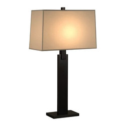 Sonneman - Sonneman | Monolith Table Lamp - The sturdy profile of this table lamp is rendered in geometric shapes placed carefully in a column. A large rectangular Natural Linen shade tops one of two finish offerings. Features three-way switching.Select from Black Nickel or Black Brass finishes with Natural Linen shade.