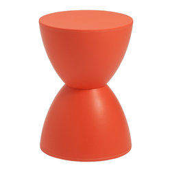 Eurostyle - Sallie Stool-Melon - You'll immediately notice the hourglass design of this space-saving stool, which also doubles as an ottoman. This classic shape always evokes a refreshing sense of balance. Discreet and distinct, it stands out, yet never overwhelms.