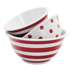 Anchor Hocking - Melamine Mixing Bowls, Set of 3 - Anchor Hocking 3-piece Decorated Melamine Mixing Bowl Set includes 2-quart Striped Mix Bowl, 3-quart Polka Dot Mix Bowl, 4-quart Striped Mix Bowl; Not suitable for hot contents, Please do not microwave.