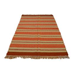 1800GetARug.com - Flat Weave Hand Woven 4'X6' 100% Wool Reversible Durie Kilim Area Rug Sh6983 - Flat Weave Hand Woven 4'X6' 100% Wool Reversible Durie Kilim Area Rug Sh6983