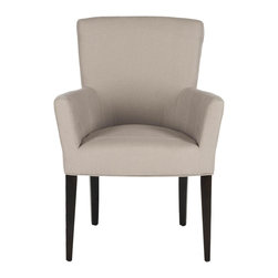 Safavieh - Dale Arm Chair - Taupe - Dapper and delightful, the Dale Armchair brings a soft, tailored touch to any room with taupe linen upholstery and birch wood legs with espresso finish. Whether it��_s an intimate dining room, a set for the study or a place for guests to have a cocktail in the living room, any room becomes an instant scene of modern luxury.
