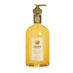 Cucina - Cucina Purifying Hand Wash, 16.9-oz - Ginger & Sicilian Lemon - Cucina soothing hand care for the cook. Enticing scents for the kitchen. Cucina has harvested the best of the Mediterranean's gardens and grooved. Natural active ingredients and pure aromas to pamper skin and tantalize the olfactory senses of the home chef. Presented in a bottle recalling olive oil containers, this liquid hand wash is specially designed for use in the kitchen. Contains cold pressed virgin olive oil and other olive derivatives with purifying properties. Delicately scented with coriander or ginger and lemon, it rinses off completely to avoid interfering with the flavor of foods. Size: 473ml / 16 floz