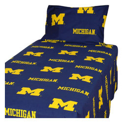 College Covers - NCAA Michigan Wolverines Collegiate Blue King Bed Sheet Set - Features: