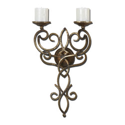 Uttermost - Zemel Gold Wall Mount Candleholder - This wall mount candleholder is made of hand forged metal with an antiqued gold leaf finish. Off-white candles included.