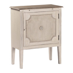 """Gabby - Gabby Furniture Landry Side Table - Decor with a story, Gabby's line of antique reproduction furniture retains the spirit of the European pieces that inspired it. A mix of white burlap, handcarved molding and a single metal rosette completes the elegant and timeless aesthetic of the mahogany Landry side table. In addition to shelving storage behind a single cabinet adorned with textured detailing, the French-inspired furnishing features an extension panel above the door for extra surface area in living rooms or bedrooms. The table's top is finished in natural lime. Due to the handmade artistry of Gabby's collection of home furnishings, variation between individual products should be expected and appreciated. 26.1""""W x 13.1""""D x 31.5""""H."""