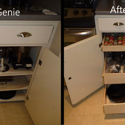ShelfGenie Glide-Out Shelves Before & After - By replacing your current fixed shelves with custom ShelfGenie pull out shelves, you're increasing your visibility and access to everything stored in your cabinets.  Get to those items stored in the back as easily as those stored in the front!