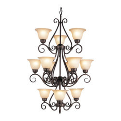 Trans Globe Lighting - Trans Globe Lighting 70228 12 Light Up Lighting Chandelier from the New Century - New Century Collection 12 Light Up Lighting ChandelierVictorian style, three tiered chandelier delicately perched 12 frosted tea stained glass shades draw the eye to the striking design is accented beautifully with lively curls; it's a conversation piece in any room.Features: