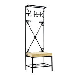 Holly & Martin - Holly & Martin Leon Entryway Storage Rack/Ben - This rack is perfect for the space next to your outside doors. This unit gives you a place to hang umbrellas, coats, and bags. The lower shelf is raised to give you shoe storage. The rack gives you a place to hang your jacket when you walk in the door. Sit down on the bench to put your shoes on and off. * Stylish and Functional. Storage Solution. 3 4-prong hooks. X cross design. Shelf on top and bottom for additional storage. Cushion included. Created With Skilled Craftsmanship. 24 in. W x 18in. L x72.5 in. H