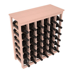 36 Bottle Kitchen Wine Rack in Redwood with White Wash Stain - A small wine rack with big storage. This wine rack kit is the best choice for converting tiny spaces into big wine storage. The solid wood top excels as a table for wine accessories, small plants, and wine collectables. Store 3 cases of wine properly in a space smaller than most entry tables!