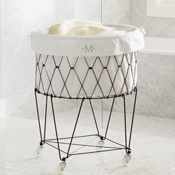 French Wire Hamper & Liner - Who says a hamper can't be visually appealing? This diamond cut wire hamper is functional and pretty.
