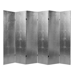 Oriental Furniture - 6 ft. Tall Faux Leather Silver Crocodile Room Divider 6 Panel - This lovely silver faux crocodile screen is a stunner. You'll love the warmth, substance, and undeniable, if surprising elegance one can add to any room in your home, even though, of course it's faux skin!