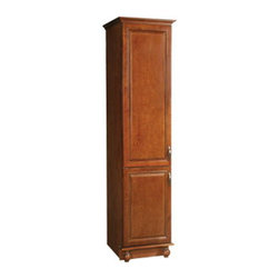 """DHI-Corp - Montclair Chestnut Glaze Finish Linen Tower Cabinet with 2-Doors, 84"""" by 21"""" - The Design House 538595 Montclair Chestnut Glaze Finish Linen Tower Cabinet is made of solid wood door and drawer frames and finished in a chestnut glaze with a water resistant coat. This product features oil rubbed bronze hardware, particle board side panels and concealed hinges. Easily adjust shelves inside this cabinet to store your personal items and reversible doors make installation easy. Measuring 84-inches by 21-inches by 18-inches, this cabinet fits into a large bathroom while providing storage for towels and cleaning supplies. This product comes pre-assembled and features a modern aesthetic that matches traditional furnishings and granite tops. The Design House 538595 Montclair Chestnut Glaze Finish Linen Tower Cabinet has a 1-year limited warranty that protects against defects in materials and workmanship. Design House offers products in multiple home decor categories including lighting, ceiling fans, hardware and plumbing products. With years of hands-on experience, Design House understands every aspect of the home decor industry, and devotes itself to providing quality products across the home decor spectrum. Providing value to their customers, Design House uses industry leading merchandising solutions and innovative programs. Design House is committed to providing high quality products for your home improvement projects."""