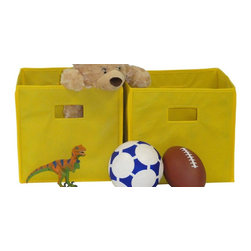 RiverRidge - Folding Storage Bin in Yellow - Set of 2 - Set of 2. Open cut out handles. Bins can be fold flat. Can be used in the kids room, family room and play room. Made from non woven polypropylene and paperboard. Assembly required. 10.5 in. L x 10.5 in. W x 10 in. H (2 lbs.)Large capacity - store and organize toys, games, art and craft supplies, clothes and more. Versatile storage - sit on the floor, put on a shelf, in the closet, on a bookcase or desk.