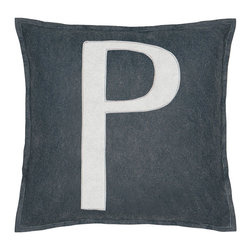 """Eastern Accents - Spell It Out P Pillow - Featuring a white """"P"""" on a grey background, the Spell It Out felt pillow brings a typographic touch to a sofa, chair or bed. This on-trend accent creates a personalized look when displayed individually or with other letters and symbols (available separately). Handcrafted for the modern home, this decorative pillow charms with its unique fabrication, simple design and neutral color palette. 16"""" Square; Hand-cut felt piecing; High quality polyester fiber pillow insert included; Zipper closure"""
