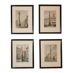 Pre-owned Column & Obelisk Etchings - This set of four classic etchings are brought to us from the collection of SF Designer Kendall Wilkinson and set our jet setter hearts a flutter. Italian etchings acquired in Paris, feature a series of some of Rome's most famous columns and obelisks. Framed in black lacquer. Priced as a set of 4.