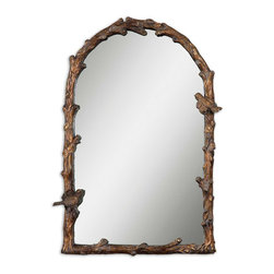 Uttermost - Paza Antique Gold Arch Mirror - Distressed Antiqued Gold Leaf Frame With A Gray Glaze.