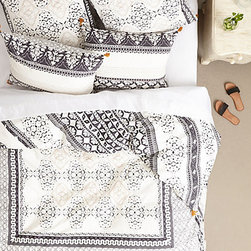 Enmore Embroidered Duvet, Black & White - Gray textural embroidery and tasseled corners give this screen-printed bedding a sophisticated finish. It's boudoir ready!