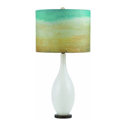 """AF Lighting - AF Lighting 8279-TL Blown Glass Horizon Series """"Seaside"""" Table Lamp with Cream P - AF Lighting 8279-TL Blown Glass Horizon Series """"Seaside"""" Table Lamp with Cream Poly Fabric Shade and 3-Way Switch, Finished in Blown Glass"""