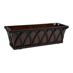 "Hooks & Lattice - 24"" Arch Decora Window Box with Bronze Galvanized Liner - 24"" Arch Decora Window Box with Bronze Galvanized Liner"
