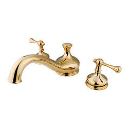 Kingston Brass - Two Handle Roman Tub Filler - Solid brass construction for durability and reliability, Premium color finish resists tarnishing and corrosion, 13.0 GPM at 60 PSI, 8 1/2in. spout reach, 4 1/2in. spout height, 2 1/2in. spout clearance, 3/4IPS Inlets, 1/4 turn ceramic disc cartridge, 8-36in. widespread installation, Ten year limited warranty.