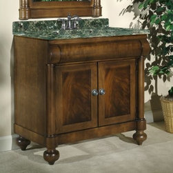 Kaco John Adams 36-in. Single Bathroom Vanity in Brown Cherry with Optional Coun - Give your bathroom decor an instant makeover with the Kaco John Adams 36-in. Single Bathroom Vanity in Brown Cherry with Optional Countertop. This hand-crafted vanity is made from solid hardwood, which makes it tough and long-lasting. In addition, the water-resistant finish keeps it well-protected. A leveling feature on its legs allows you to steady this vanity on uneven floors. Its doors open to reveal spacious interiors for convenient storage. Traditional parlor styling is visible in the crotch mahogany veneers on this vanity.Kaco International's partnering with Sherwin-Williams and its high-end furniture finishing capabilities is undoubtedly a winning combination.About Kaco International Inc. Manufacturing and importing high-quality kitchen islands and bathroom vanities, Kaco international Inc. provides premium top quality products. Hailing from North Carolina with over 30 years of service experience, they bring an unmatchable presence to the industry and strive to keep their customers completely satisfied by providing top-notch service and product quality.