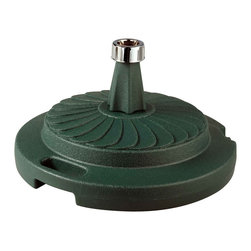 """Patio Living Concepts - Green Commercial Quality Umbrella Stand - The PLC commercial quality umbrella stands are individually boxed, unweighted, and available in five colors. Fully weighted with sand, these stands offer up to 95 lbs. of heavy holding force for any size umbrella. Chrome finished cap will accommodate umbrella poles from 1 """" diameter to 2"""" diameter. Each stand features a locking screw-on cap to hold the sand weight inside its durable molded resin body. This feature enables dealers or consumers to purchase sand for weighting at their local home stores and easily fill the stand with sand themselves to reduce shipping costs. Completely rust proof construction, will not leave rust marks on your patio or deck. (Sand not included) 22"""" dia X 12"""" ht."""