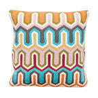 Abigails - Crewel Embroidery Pillow, with Geometric Design - A modern, geometric pattern in contrasting hues lends this design to many uses.  This design is traditional crewel work done on heavy linen backing with a hidden zipper.  A vacuum packed polyfoam pillow form insert is included.
