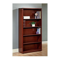 Office Star - 5-Shelf Wood Bookcase for Home/Office w Adjus - Made of Wood. Select hardwood veneers, book-matched. Solid hardwood edges. Cherry finish with medium sheen. Radius wood edges on tops and modesty panels. Compound radius corners on tops. Common grain direction on tops of all components of L and U workstations. Pictured in Cherry Wood. Some assembly required. 36 in. W x 14 in. L x 70 in. H