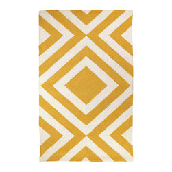Trina Turk - Trina Turk Merced Hook Yellow Rug - The Merced rug's concentric diamond pattern lends an energetic vibe. Pulsing with energy, this bold geometric accent by Trina Turk is hand hooked in bright sunshine yellow. 3' x 5'; 100% wool; Cotton canvas backing; Rug pad recommended; Professional cleaning recommended
