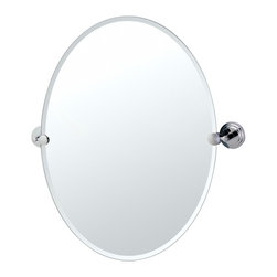 """Lamps Plus - Contemporary Gatco Marina Chrome Oval 26 1/2"""" High Tilt Wall Mirror - An excellent addition to a bathroom sink or vanity this oval mirror design has a beveled edge and comes with solid brass mounting brackets in a polished chrome finish. Tilting wall mirror. Polished chrome finish. Solid brass mounting brackets. Beveled oval mirror. Mirror glass only is 26 1/2"""" high 19 1/2"""" wide. 26 1/2"""" high. 24"""" wide.  Tilting wall mirror.   Polished chrome finish.   Solid brass mounting brackets.   Beveled oval mirror.   Mirror glass only is 26 1/2"""" high 19 1/2"""" wide.   26 1/2"""" high.   24"""" wide."""