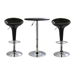 Buffalo Tools - AmeriHome 3 Piece Adjustable Height Bar Set - 3 Piece Adjustable Height Bar Set by AmeriHome The AmeriHome 3 Piece Adjustable Height Bar Set includes two glossy black adjustable height bar stools and one adjustable height bar table. Add a bit of whimsy to your kitchen, bar, game room, basement, or shop. This set has a sleek and fun silhouette with polished mirror-like chrome and shiny black molded bar stool seats. The 3 Piece Adjustable Height Bar Set is comfortable for kids and adults to sit together. The bar stools have a large 14.75 inch wide, molded, 360 degree swivel seat, and a built in backrest and footrest. The Adjustable Height Bar Table measures 25 inches in diameter, with a black textured vinyl covering on the tabletop that makes wiping up spills easy.  Bar stool adjustable height: 22 to 30 in., bar stool weight capacity: 330 lbs. Bar table adjustable height: 26 to 36 in., bar table weight capacity: 200 lbs. Includes 1 bar height table and 2 black adjustable counter height bar stools Makes a great addition to your kitchen, bar, game room, or basement Sleek and fun silhouette Bar stool specs: adjustable height from 22 to 30 in., max seat back height of 33 in., built in backrest and footrest, 14.75 in. wide, molded, 360 degree swivel seat, 330 lbs. weight capacity each Bar table specs: 25 in. diameter table top with textured vinyl covering, adjustable height from 26 to 36 in., 200 lbs. weight capacity