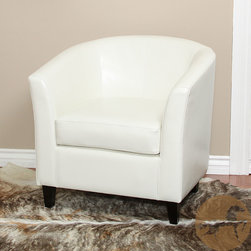 Christopher Knight Home - Christopher Knight Home Preston Bonded Leather Ivory Club Chair - This Ivory leather tub club chair will be a stylish enhancement to any living room setting. This curvy chair is made of beautiful and soft bonded ivory leather that won't fade or crack, and every inch is padded for ultimate comfort.