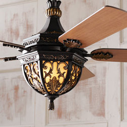 """Lambrusco Ceiling Fan - Looking for more than just a ceiling fan?  The Lambrusco Ceiling Fan is also a gorgeous light fixture, as well.  Beautifully designed, the """"Lambrusco"""" fan is made of metal and resin with a distressed bronze finish."""