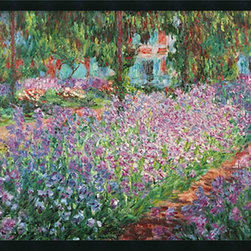 Amanti Art - Le Jardin de Monet a Giverny Framed with Gel Coated Finish by Claude Monet - Claude Monet spent the last years of his life painting in Giverny, a beautiful countryside village, located about 45 miles from Paris. His gardens became the endless focus of his work.