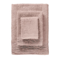 Nine Space - Pleated Towel Set, Dusty Rose - Woven by hand of pure Turkish cotton, these dreamy towels will add a sweetly sophisticated note to your powder room. The soft, cotton terry is paired with ruffled pleats for a look that's decidedly romantic.