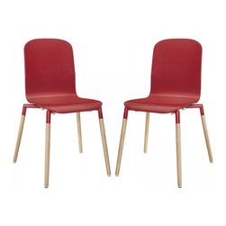 Modway Imports - Modway EEI-1372-RED Stack Wood Dining Chairs Set of 2 In Red - Modway EEI-1372-RED Stack Wood Dining Chairs Set of 2 In Red