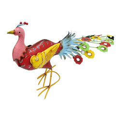 Zeckos - Whimsical Brightly Colored Metal Peacock Garden Statue - This metal peacock sculpture is a cheerful addition to gardens and flower beds. Made of metal, it measures 17 1/2 inches tall, 28 inches long, and 7 1/2 inches wide. It is hand painted in bold, bright colors and has strategically placed, faceted stones for a sparkling accent. It is sure to be admired, and makes a great housewarming gift.