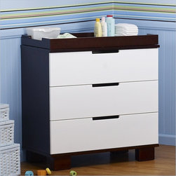 Babyletto Modo 3-Drawer Wood Changing Table w/ Tray in Espresso/White - The combination of White and Espresso non-toxic finish gives this collection a chic look!