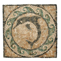 Pebbles Stone Medallion Dolphin Mosaic - Pebble medallion 44 inches