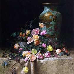 """Milne Ramsey Still Life with Roses (also known as Roses and an Oriental Vase on - 18"""" x 24"""" Milne Ramsey Still Life with Roses (also known as Roses and an Oriental Vase on a Brocade Tablecloth) premium archival print reproduced to meet museum quality standards. Our museum quality archival prints are produced using high-precision print technology for a more accurate reproduction printed on high quality, heavyweight matte presentation paper with fade-resistant, archival inks. Our progressive business model allows us to offer works of art to you at the best wholesale pricing, significantly less than art gallery prices, affordable to all. This line of artwork is produced with extra white border space (if you choose to have it framed, for your framer to work with to frame properly or utilize a larger mat and/or frame).  We present a comprehensive collection of exceptional art reproductions byMilne Ramsey."""