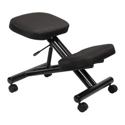 Boss - Ergonomic Kneeling Stool - Kneeling stool offers excellent ergonomic support and ease of use. Adjustable knee height allows for multiple users. Ergonomic design eases the hip forward and encourages an upright posture by aligning the back, shoulders and neck to relieve strain on the lumbar muscles. Black fabric seat and knee platform provides comfort for long periods of time. Pneumatic gas lift seat height adjustment. Hooded double wheel casters. Black tubular steel frame.