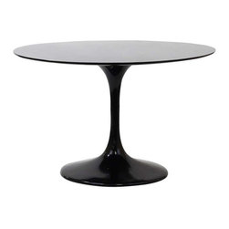 """Modway - Lippa 48"""" Fiberglass Dining Table in Black - Reflecting a seamless organic shape and timeless form, the Lippa Table has become a symbol of modernism for over the past 60 years. Before its release, homes were filled with clunky remnants of an industrial age long gone by. But in order to advance into the new world, homes first had to transition from the traditional square table, into a piece that connoted progress. The base and dimensions are true to the original specifications, while the table's circular top, and tapered base, are carefully lacquered with a scratch and chip resistant finish."""