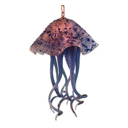 """Primo Glass - Blown Glass Chandelier - Art Glass Lighting - Lighting - Chandelier - Jellyfish - Beautiful one of a kind blown glass cobalt blue & clear jellyfish pendant light handcrafted in the USA by Primo Glass. This is a custom one of a kind """" to be built """" jellyfish light that will have slight differences from the jellyfish light shown in the listing photos, and has a lead time of aprox 3 weeks. The lighting source consists of a standard medium base ( 100 watt max ) light socket in the center of the Jellyfish head. It will be shipped with a 60 watt dimmable LED light bulb that will last for 20k hours or longer. All electrical components are UL listed. It also comes complete with a custom made matching glass ceiling medallion. The glass jellyfish itself measures aprox 12 inches wide x 19 inches tall, and also includes an additional 36 inches of adjustable chain. Primo Glass fixtures are high quality collectible works of functional art, signed by the artists, and come with a certificate of authenticity."""