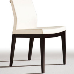 Pasha Wood Dining Chair By SohoConcept - Pasha Wood Dining Chair, designed by Tayfur Oxkaynak, is brought to you by Soho Concept. The elegant chair is meant to be an ergonomic dining chair, suitable for both commercial and residential use. The solid beech legs fitted with plastic caps, comfortable backrest, and seat upholstered with a removable Velcro enclosed leather, PPM, or wool fabric slip cover add to the modern look of the chair. Additional strength and flexibility have been ensured by the steel structure with S shape springs and molding by injecting polyurethane foam. The upholstery can be done with Maharam Kvadrat fabrics obtained on special orders.